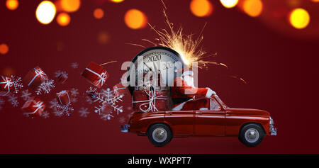 Le Père Noël compte à rebours on car Banque D'Images