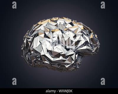 3d illustration des droits de l'low poly cerveau fait de métal, AI concept Banque D'Images