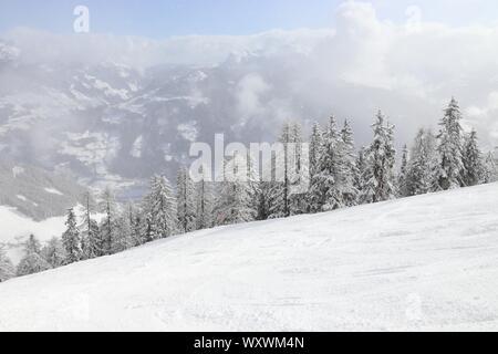 Ski Hiver montagne Autriche - Mayrhofen dans le Tyrol. Alpes centrale autrichienne. Banque D'Images