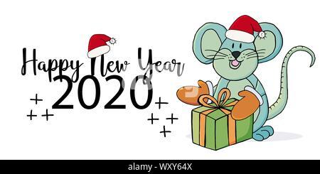 Année du Rat. 2020 inscription typographique sur un fond blanc. Bonne année 2020. Bannière, flyer. Symbole de l'année avec un cadeau, une nouvelle année Banque D'Images