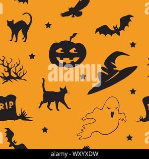 Vector pattern transparente avec différentes icônes d'Halloween (bat, OWL, ghost, tombe, chat noir, chapeau de sorcière, cimetière,stars ) sur fond orange, mauvais stock Banque D'Images