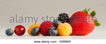 Agriculture - mélange de petits fruits: fraises, framboises rouges et or, blackberry, les bleuets et les canneberges, sur blanc. Banque D'Images