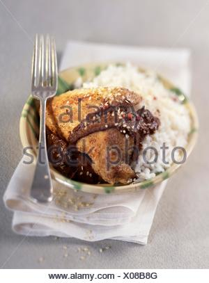 Le poulet et le riz dans une sauce au chocolat