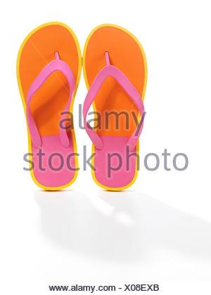 Paire de tongs orange rose Banque D'Images