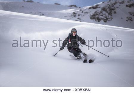 L'Autriche, vue avant du ski free ride, ski alpin Banque D'Images