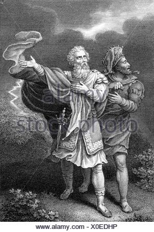 """Shakespeare, William, 23.4.1564 - 23.4.1616, poète anglais, travaille, """"Le Roi Lear"""", Acte 3, scène 2, gravure sur cuivre, l'artiste n'a pas d'auteur pour être effacé Banque D'Images"""