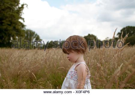 Une petite fille debout dans un champ, side view Banque D'Images