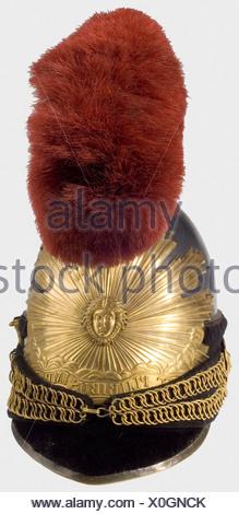Un casque modèle 1820 pour trompettiste, des Gardes du corps du Roi UN crâne tombac monobloc, une turban de peau de phoque, une grande plaque de soleil avec un revêtement de tête de Medusa et portant la devise 'Nec pluribus impar'. Écusson argenté du casque en relief fin avec brosse à crin rouge. Jugulaire en métal avec velours sur les rosettes à tête de lion. Doublure en cuir marron (marques d'usure). Hauteur 40 cm. Reproduction de collection de très haute qualité utilisant de nombreuses pièces originales. Historique, historique, XIXe siècle, Restauration française, France, français, militaria, objet, objets, , Banque D'Images