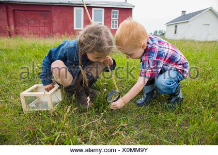 Curieux de frère et soeur avec loupe Banque D'Images