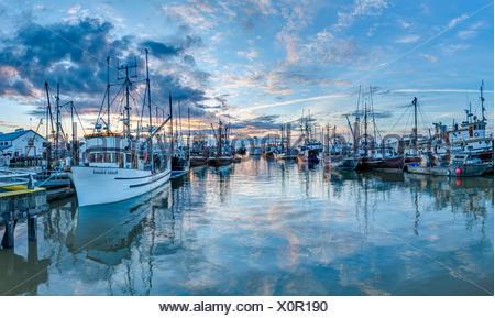 Les bateaux de pêche de Steveston Harbour Banque D'Images