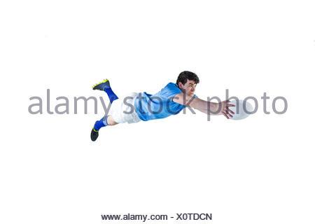 Un joueur de rugby d'une notation essayez Banque D'Images