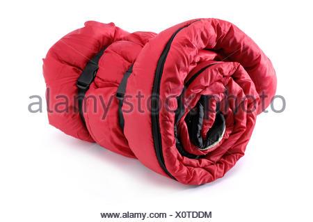 Sac de couchage rouge pliée Banque D'Images, Photo Stock
