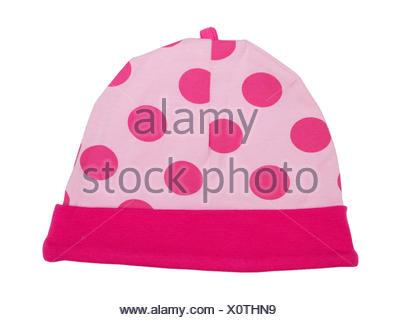 Bonnet bébé rose à pois Banque D'Images