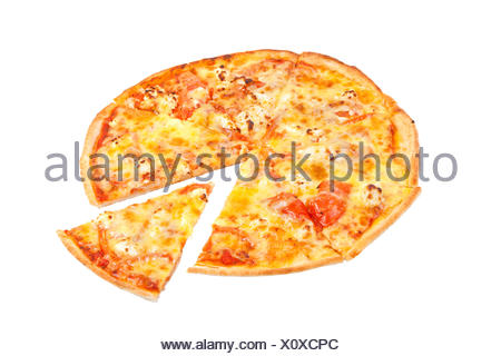 Pizza italienne over white Banque D'Images