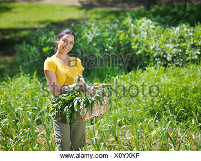 Femme avec des légumes fraîchement cueillis dans panier Banque D'Images