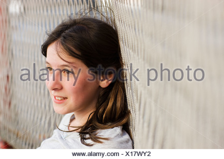 À la fille au loin Banque D'Images