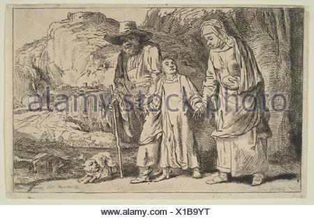 Le Christ entre ses parents de retour de la Temple. Graveur: le baron Dominique Vivant Denon (Français, Givry 1747-1825 Paris); Artist: Après Rembrandt Banque D'Images