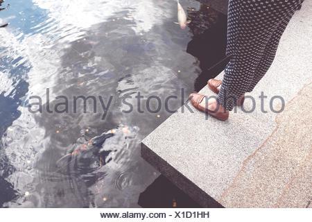La section basse sur femme debout par l'étang avec des carpes Koï nager sous l'eau Banque D'Images