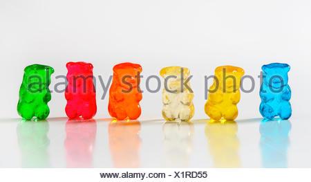Gomme à saveur de fruits blancs au couleurs assorties