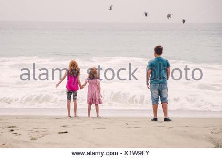 USA, Californie, Los Angeles, les enfants (6-7, 8-9, 12-13) regardant des vagues se brisant sur la plage Banque D'Images