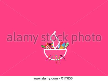 Diwali lampe à huile de pétards isolé sur fond rose