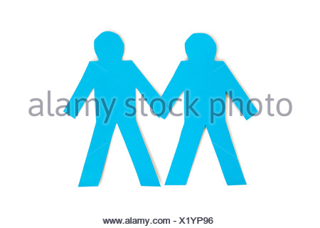 Papier bleu deux figures bâton holding hands over white background Banque D'Images