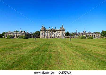 Houghton Hall, Norfolk, Angleterre, avant de l'ouest, Royaume-Uni hôtel particulier, des villas de Palladio, l'anglais demeure seigneuriale, les maisons Banque D'Images