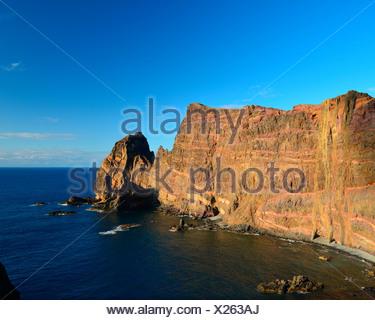 Les falaises de Ponta do Castelo, Ponta do Castelo, Madeira, Portugal Banque D'Images
