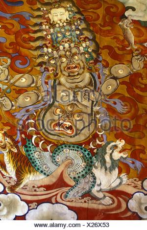 Fresque du dieu Gelpo Pehor Drukpa Kagyu du bouddhisme dans le monastère de Gangtey Bhoutan Banque D'Images
