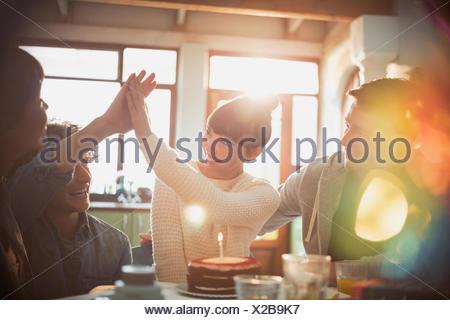 Jeunes amis célébration anniversaire avec gâteau et bougies fiving haut Banque D'Images