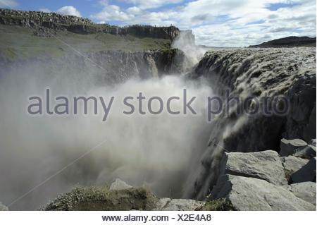 Cascade de Dettifoss, la plus puissante chute d'Europe, l'Islande, Vatnajoekull Banque D'Images