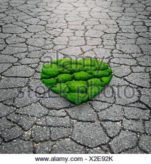 L'herbe pousse en forme de coeur de l'Asphalte Banque D'Images