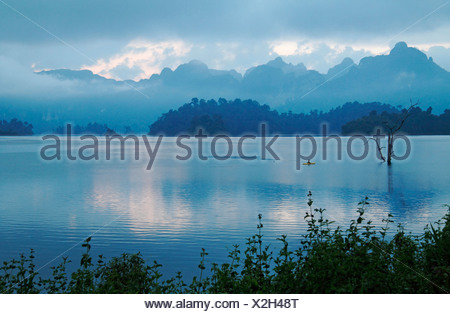 Vue sur le lac à l'aube Lan Chio , Thaïlande, parc national de Khao Sok Banque D'Images
