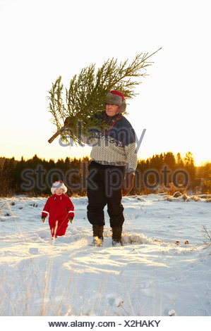 Man and boy with Christmas Tree in snow Banque D'Images