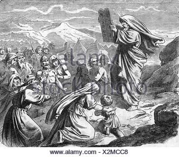 La figure biblique, Moïse, prophète et chef religieux, ce qui porte les comprimés aux Israéliens, gravure sur bois, 19e siècle, Additional-Rights-Jeux-NA Banque D'Images