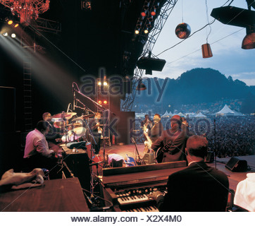 Les concerts de musique festival arrangement modèle ne libération Open Air St-gall open air scène Switzerla spectateurs Banque D'Images