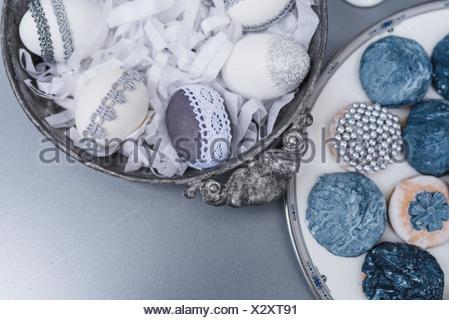 Les oeufs de pâques, gris, dentelle, étamé, cookies, détail, Close up, Banque D'Images