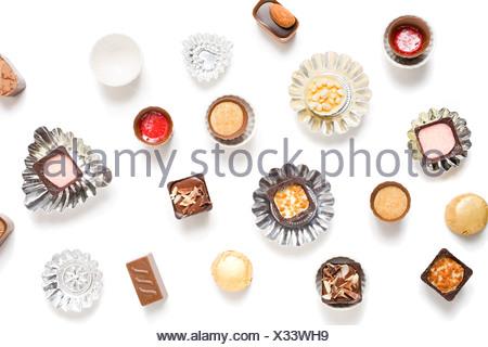 Chocolats avec cas Banque D'Images
