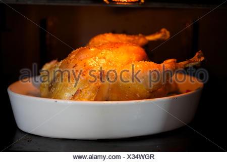 La cuisson du poulet rôti au four., la lèchefrite, la viande, la tentation. Banque D'Images
