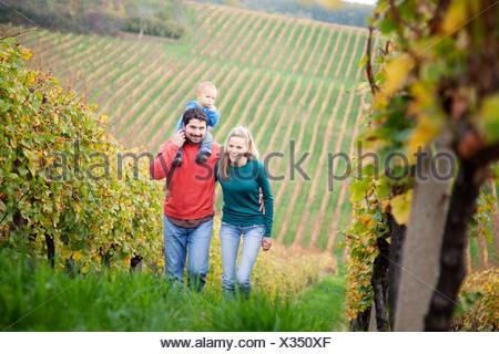 Famille d'un enfant marche dans un vignoble, Osijek, Croatie Banque D'Images