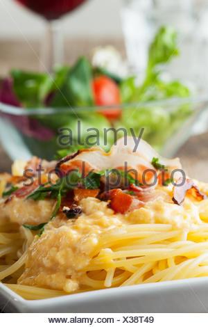 Nahaufnahme von Spaghetti Carbonara Banque D'Images