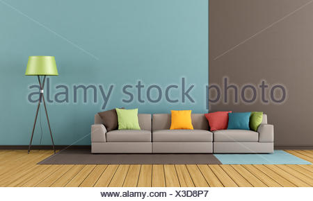 Salon moderne avec canapé coloré - rendering Banque D\'Images ...