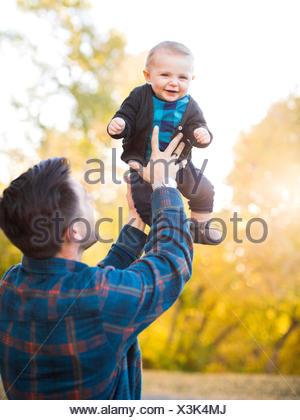 Père Fils baby (6-11 mois) Banque D'Images
