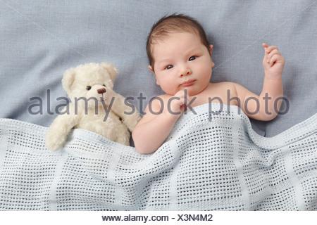 Bébé garçon et ours laying in bed Banque D'Images