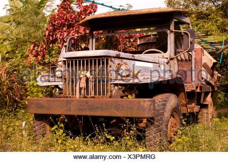 Vieux camion, Thailande, Asie, rouillé, fonds, backgrounds, Banque D'Images