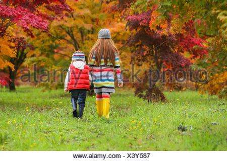Un jeune garçon et fille portant des bottes en caoutchouc et des vêtements colorés à pied à travers un champ vers les arbres dans des couleurs d'automne Banque D'Images