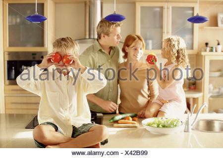 Dans la cuisine familiale Banque D'Images
