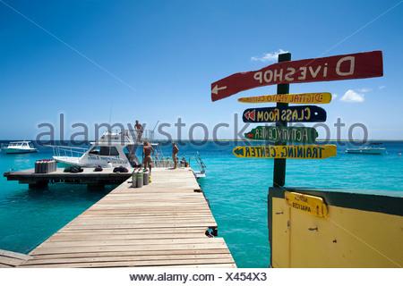 Jetty, Buddy Dive Resort, une station balnéaire populaire et hôtel pour plongeurs, Kralendijk, Bonaire, Antilles néerlandaises, Antilles, Caraïbes Banque D'Images