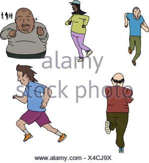 Mâles et femelles matures joggers sur fond isolé Banque D'Images