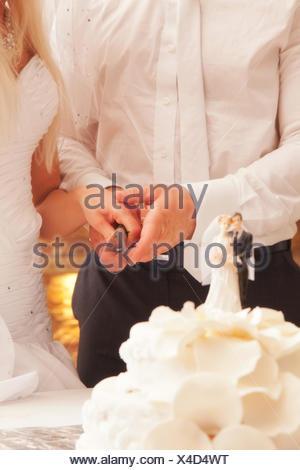 Couper le gâteau de mariage de jeunes mariés Banque D'Images